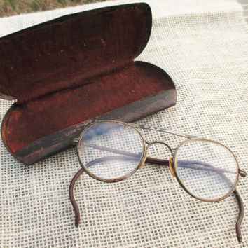 Vintage Metal Glasses/Goggles Case with Bausch and Lomb Safety Glasses