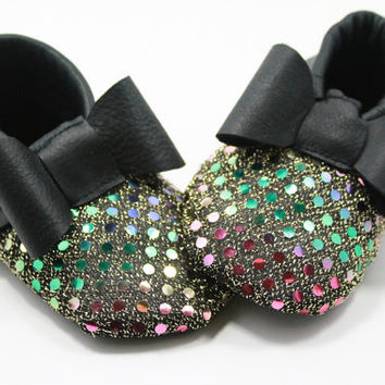 Black Sequin Baby Moccasin Moccs Moccasins Leather Bow Girl Shoes Booties Booty Glitter