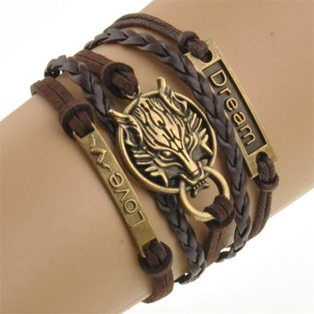 2016 Charm Boho Wolf Style Brown Rope Chain Bracelet Men Jewelry Bracelets For Women Pulseras Mujer With Nameplate Free Shipping