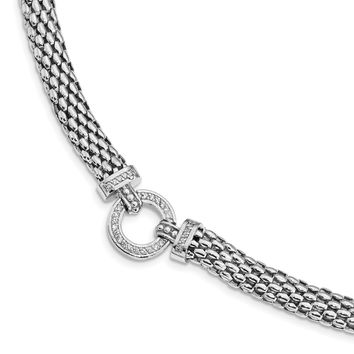 925 Sterling Silver Rhodium-Plated Polished Cubic Zirconia Mesh 7.5 to 17.75in Link Necklace, Bracelet