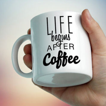 Cute mug Life begins after coffe. Cup of tea, mug for coffee, for tea, tea set, Designer Cup, Designer mug