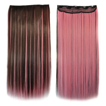 5 Cards Long Straight Hair Extension Wig    dark brown with rouge pink