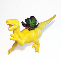 Up-cycled Glittery Yellow Velociraptor Dinosaur Planter