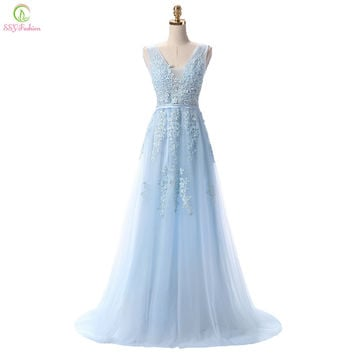 Vestido De Festa SSYFashion Sweet Light Blue Lace V-neck Long Evening Dress the Bride Party Sexy Backless Prom Dresses 12 Colors