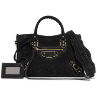 Balenciaga - Metallic Edge City small suede tote