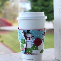 Snowman Coffee Cup Cozy - Coffee Sleeve - Winter Mug Koozie - Christmas Gift Exchange Idea - White Elephant - Secret Santa Gift Idea