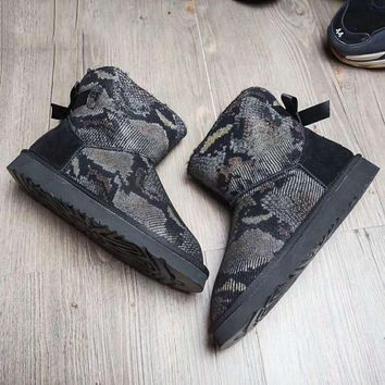 """""""UGG"""" Women Fashion Wool Snow Boots Bow Serpentine Boots Black G-A-YYMY-XY"""