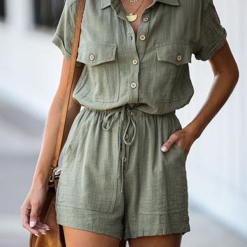 Bend Pocketed Button Down Romper