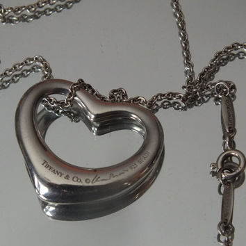 "Large Elsa Peretti 27 mm Tiffany and Co.Open Heart Pendant on 18"" Tiffany and Co. Sterling Silver Necklace, Silver 925"