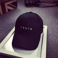 SMTSMT Embroidery Cotton Baseball Cap Boys Girls Snapback Flat Hat (Black)