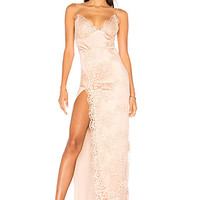 Gemeli Power Satin Motel Jay Gown in Rose Satin & Nude Lace | REVOLVE