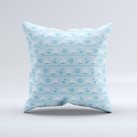 Subtle Nautical Sailing Pattern ink-Fuzed Decorative Throw Pillow