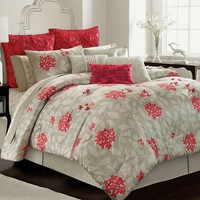 daisy fuentes Embrace 4-pc. Comforter Set - Queen (Gray/Neutral/Red)
