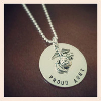 Proud Aunt - United States Marine Corps - Hand Stamped Sterling Silver Necklace (Official Hobbyist of the USMC)