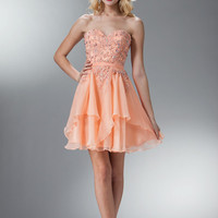 PRIMA C1508 Layered Homecoming Cocktail Dress