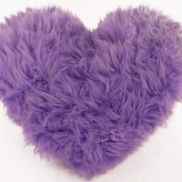 Lavender Faux Fur Heart Shaped Decorative Pillow Classic Size