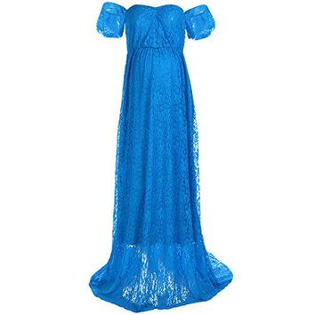 Womens Off Shoulder V Neck Ruffle Short Sleeve Lace Maternity Gown Maxi Photography Dress for Photo Shoot