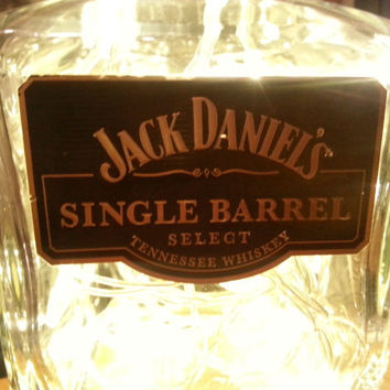 Upcycled Jack Daniels SINGLE BARREL Whisky Bottle Light Lamp (warm white LEDs) Man Cave