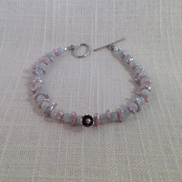 Aquamarine and Lilac Pearl Handmade Beaded Bracelet with a Thai Hill Tribe Silver Flower Charm, Aquamarine Bracelet, Women's Bracelet