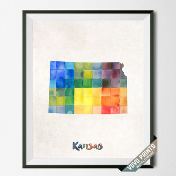 Kansas Poster, Map, Topeka, Print, Painting, USA, States, America, Wall Decor, Dorm Room, Watercolor, Home Town, Art, Gift [NO 16]