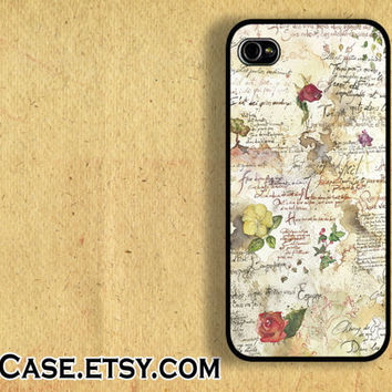 IPHONE CASE iPhone 5 Case iPhone 4 case Samsung Galaxy S3 Case Grunge old paper recipe iPhone Case
