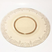 Amber Depression Glass Platter, Balda Etched Glass Cake Salver, Cake Plate, Central Glassworks