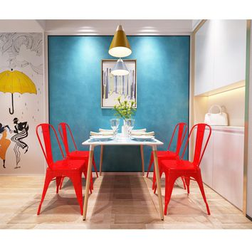 4 Pieces High Quality Armless Chair Metal Dining Chair Side Chair in Red