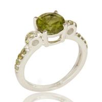 925 Sterling Silver Natural Peridot Gemstone Halo Solitaire Engagement Ring
