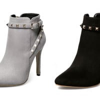 Womens Cool Studded Ankle Bootie Stiletto Heels