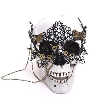 Vintage Punk Gear Clock Wheel Mask Handmade Gothic Victorian Lace Gear Mask Lolita Retro Accessories Cosplay Costumes Steampunk