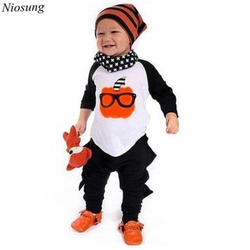 Niosung Kids Toddler Boys Hallowmas Pumpkin Print T-shirt+Pants Outfits Baby Children Clothes Costume Infant For Halloween Party