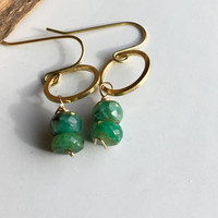 Raw Emeralds Earrings, Dangle and Drop Earrings, Brass Hoops, Emerald Rondelles, Etsy, Etsy Jewelry, Dainty Earrings