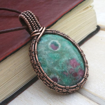 Ruby Zoisite Pendant  -  Wire Wrapped Jewellery Handmade - Wire Wrapped Pendant - Gemstone Jewellery