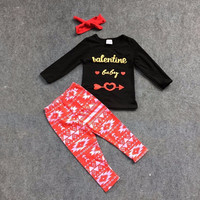 Valentine's day outftis Valentine baby arrow top red Aztec pants kids girls clothing with matching headband