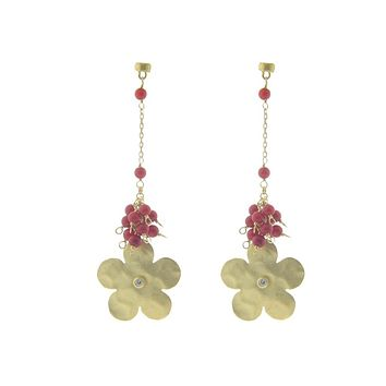 Hammered Gold Flower & Red Coral Earrings in Sterling Silver