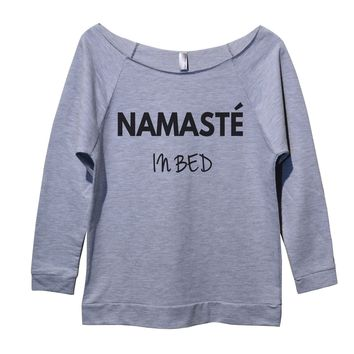 Namaste In Bed Womens 3/4 Long Sleeve Vintage Raw Edge Shirt