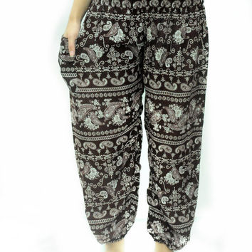 Funky elephant pant egypt india asia pattern harem Bohemian Yoga pant light weight trouser holiday pant oriental Asian style Free size Comfy
