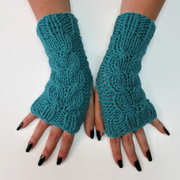 Fingerless Gloves, Knitted Gloves, Cable Knit Chunky Arm Warmers Fingerless Mittens, School Gloves, Turquoise, Winter Wool Gloves Armwarmers