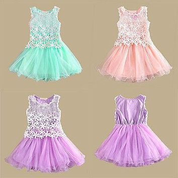 Elegant Kids Baby Girls Lace Flower Tulle Gown Formal Party Dress Tutu Dresses
