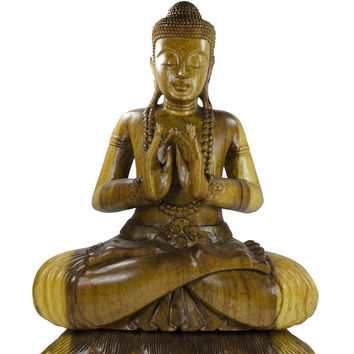 Sitting Buddha on Bed of Lotus Flowers (20 inches tall)