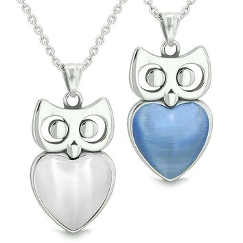 Amulets Owl Cute Hearts Love Couples or Best Friends Set White and Star Blue Cat's Eye Necklaces