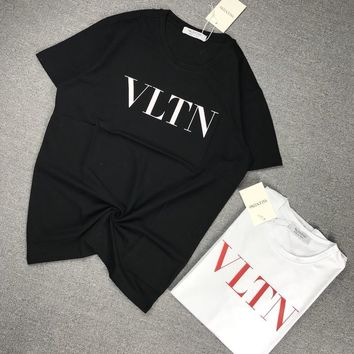 """""""Valentino"""" Unisex Casual Simple Letter Print Couple Short Sleeve T-shirt Top Tee"""
