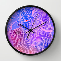 abstract with purple and pink Wall Clock by Marianna Tankelevich