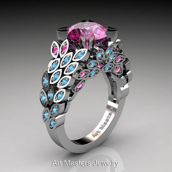 Art Masters Renoir 14K White Gold 3.0 Ct Pink Sapphire Blue Topaz Nature Inspired Engagement Ring Wedding Ring R299-14KWGBTPS