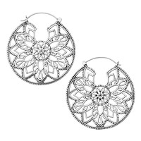 Angora White Brass Inca Earrings (PAIR)