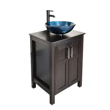 Complete Bathroom Vanity Set with Dark Brown Cabinet Blue Glass Sink Top and Faucet