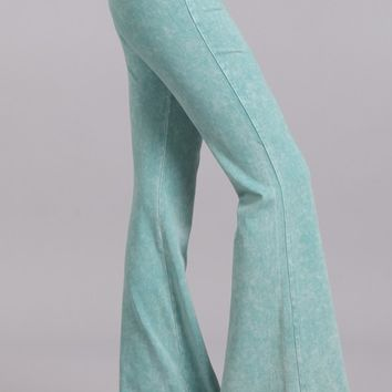Chatoyant Mineral Wash Flare Pants in Mint