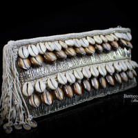 Cream Seashells Cluth With Beads. 100%Handmade.Rectangular Woven Handbag;Polished High Grade Seashells Evening Clutch