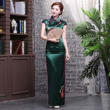 Vintage Chinese Traditional Qipao Casual Embroidery Cheongsam Maxi Dress