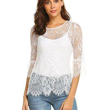 Grabsa Women Casual Scalloped Trim Half Bell Sleeve Sheer Floral Lace Blouse